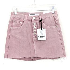 Glamorous | Dusty Pink Denim Cutoff Mini Skirt
